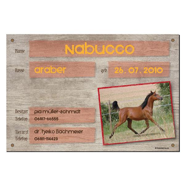 Pferde Boxenschild mit Foto und Text