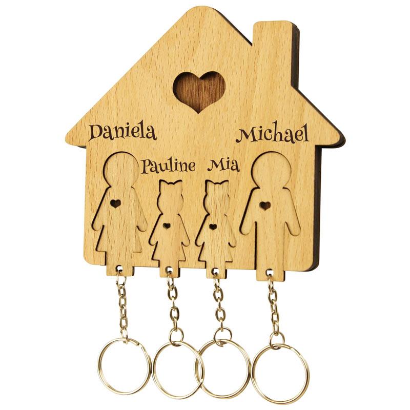 Schlüsselbrett mit Schlüsselanhänger Familie und zwei Töchter mit Gravur