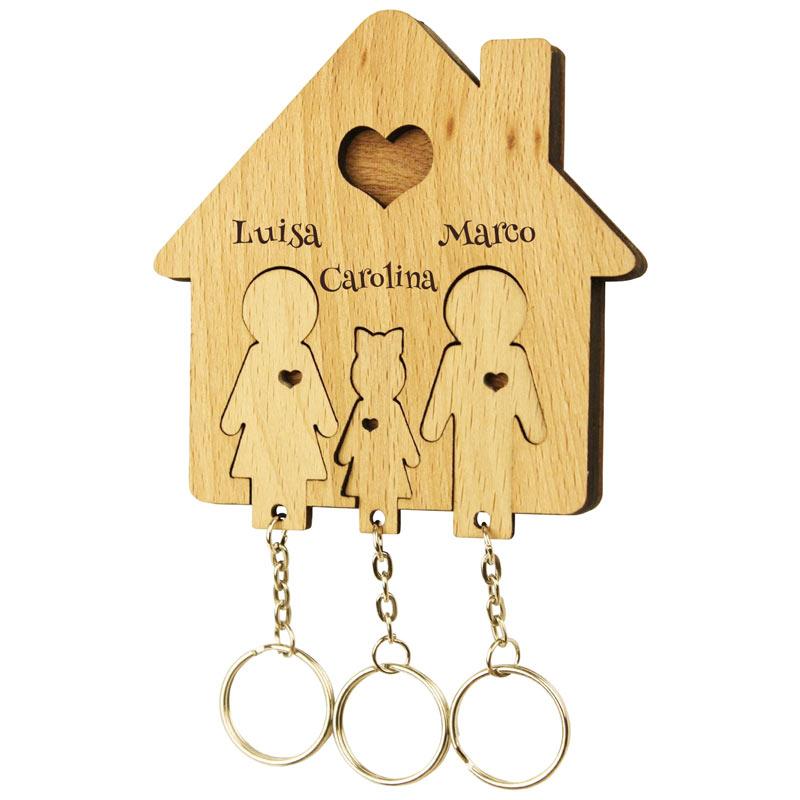 Schlüsselbrett mit Schlüsselanhänger Familie und eine Tochter mit Gravur