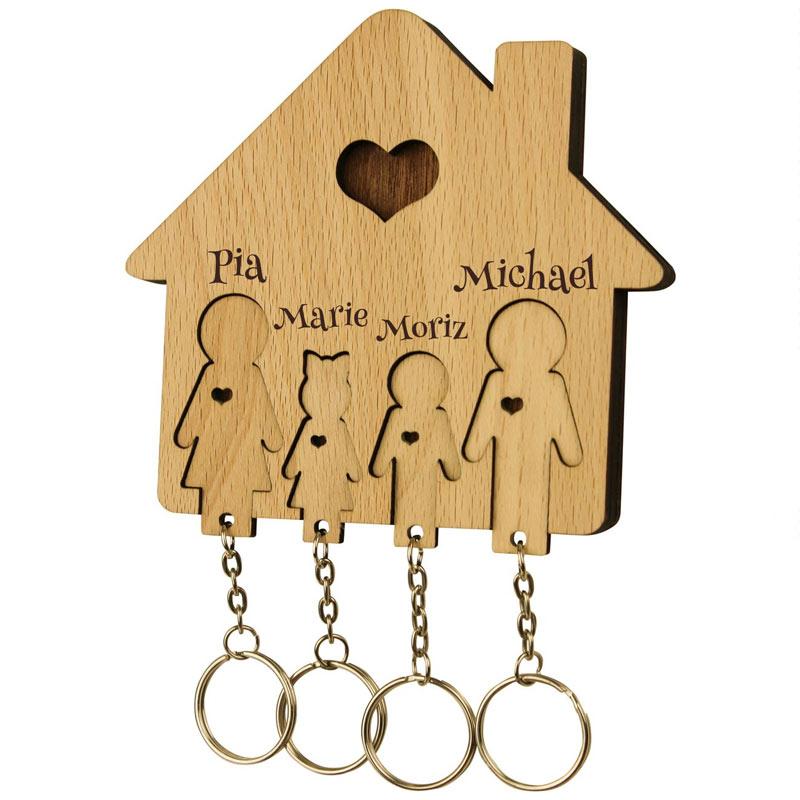 Schlüsselbrett mit Schlüsselanhänger Familie, Tochter u. Sohn mit Gravur